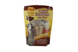 Ultra Chewy Liver Flavored Double Treat Bone Value Pack - 2 packs