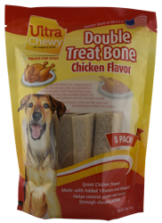 Ultra Chewy Chicken Flavored Double Treat Bone Value Pack - 2 packs