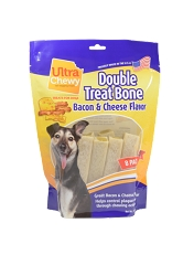Ultra Chewy Bacon & Cheese Flavored Double Treat Bone Value Pack - 2 packs
