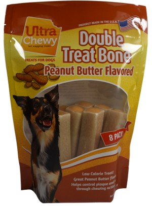 Ultra Chewy Peanut Butter Flavored Double Treat Bone Value Pack - 2 packs